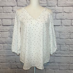 NWOT Kismet White 3/4 Sleeve Blouse with Hearts